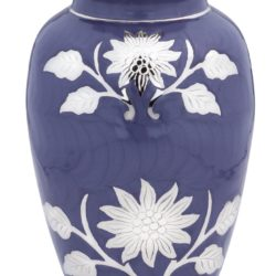 Brass Cremation Urn with Flowers - Purple - Adult – B-1500-A-P