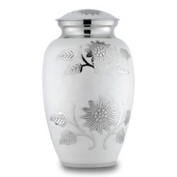 Brass Cremation Urn with Flowers - White - Adult – B-1500-A-W