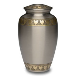 Brass Urn in Brushed Pewter Finish with Golden Brass Hearts – Adult – B-2263-A