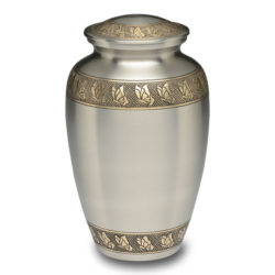 Brass Urn in Brushed Pewter with Hand-Engraved Butterflies Design – Adult – B-3236-A