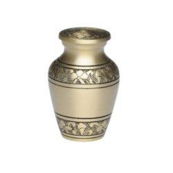 Brushed Brass Urn with Hand-Engraved Design – Keepsake- B-2872-K-NB
