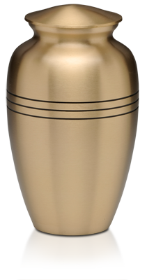 Brushed Brass Urn with Three Rings – Adult – B-1555-A