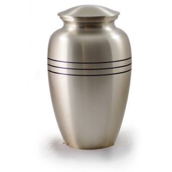 Brushed Pewter Urn with Three Rings B-1556-A