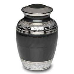 Charcoal Black Enamel and Silver Color Cremation Urn – Small – B-1528-S-CHAR
