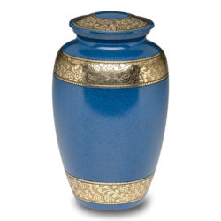 Classic Brass Cremation Urn in Blue with Brass Bands – Adult – B-2291-A