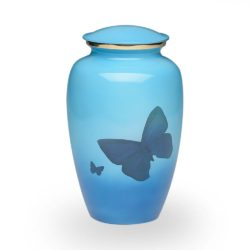Classic Brass Cremation Urn in Blue with Butterflies – Adult – B-2065-A