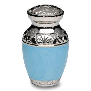 Elegant Baby Blue Enamel and Nickel Cremation Urn – Keepsake – B-1528-K-BB-NB