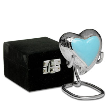 Elegant Baby Blue Enamel and Silver Color Cremation Urn – Heart Keepsake – B-1528-H-BB