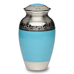 Elegant Blue Enamel and Nickel Cremation Urn – Adult – B-1528-A-BB