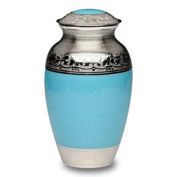 Elegant Blue Enamel and Nickel Cremation Urn – Adult – B-1528-A-BB