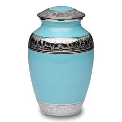 Elegant Blue Enamel and Nickel Cremation Urn – Large – B-1528-L-Blue
