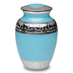 Elegant Blue Enamel and Nickel Cremation Urn – Medium – B-1528-M-BB