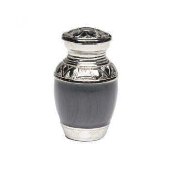 Elegant Charcoal Black Enamel and Nickel Cremation Urn – Keepsake – B-1528-K-NB-CHAR