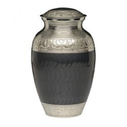 Elegant Charcoal Enamel and Nickel Cremation Urn – Adult – B-1528-A-BLACK