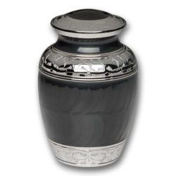 Elegant Charcoal Enamel and Nickel Cremation Urn – Medium – B-1528-M-CHAR