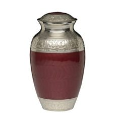 Elegant Crimson Enamel and Nickel Cremation Urn – Adult – B-1528-A-CRIMSON
