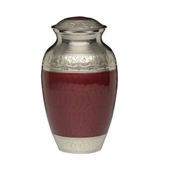 Elegant Crimson Enamel and Nickel Cremation Urn – Adult – B-1528-A-CRIMSON