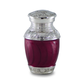 Elegant Crimson Enamel and Nickel Cremation Urn – Keepsake – B-1528-K-CRIMSON-NB