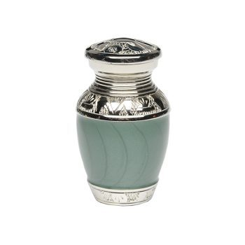 Elegant Green Enamel and Nickel Cremation Urn – Keepsake – B-1528-K-GREEN-NB