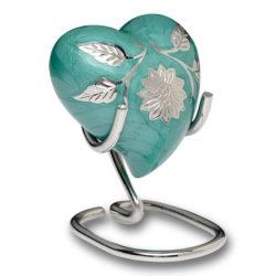 Elegant Green Enamel and Silver Color Cremation Urn – Heart Keepsake – B-1500-H-G
