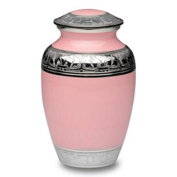 Elegant Pink Enamel and Nickel Cremation Urn – Large – B-1528-L-Pink