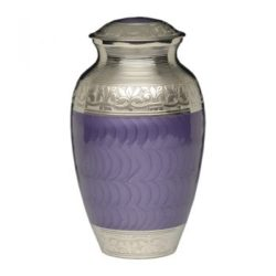 Elegant Purple Enamel and Nickel Cremation Urn – Adult – B-1528-A-PUR