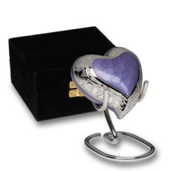 Elegant Purple Enamel and Silver Color Cremation Urn – Heart Keepsake – B-1528-H-PUR