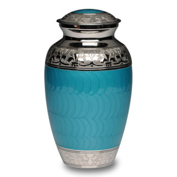 Elegant Turquoise Enamel and Nickel Cremation Urn – Adult – B-1528-A-TURQ