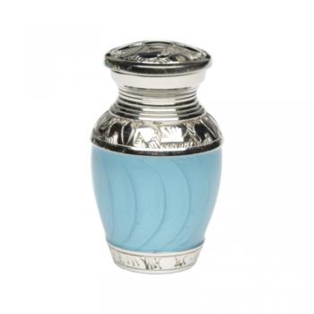 Elegant Turquoise Enamel and Nickel Cremation Urn – Keepsake – B-1528-K-TURQ-NB