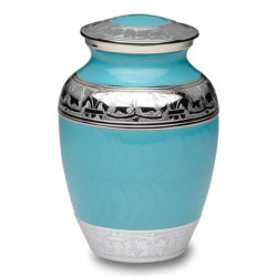 Elegant Turquoise Enamel and Nickel Cremation Urn – Medium – B-1528-M-TURQ