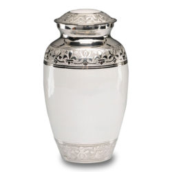 Elegant White Enamel and Nickel Cremation Urn – Adult – B-1528-A-WHITE