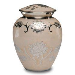 Florentine White Cremation Urn with Flowers – Medium – B-1500-M-W