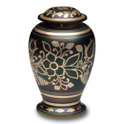 Iridescent Green Cremation Urn with Shamrock Design – Adult – B-1601-A