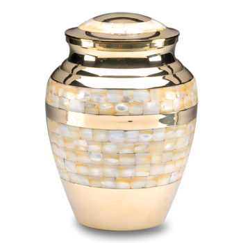 Mother of Pearl Cremation Urn in Golden Brass – Adult – B-1518-A-B