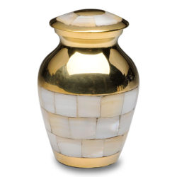 Mother of Pearl Cremation Urn with Golden Brass – Keepsake – B-1517-K-B