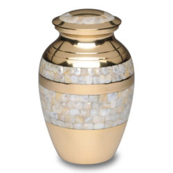 Mother of Pearl Cremation Urn with Golden Brass – Medium – B-1517-M-B