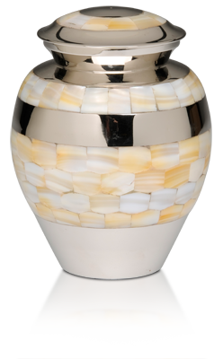 Mother of Pearl Nickel Plated Brass Cremation Urn – Medium – B-1517-M-N