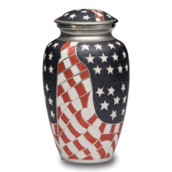 Patriotic Red, White & Blue American Flag Cremation Urn – Adult – B-1515-A