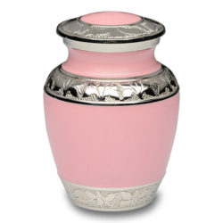 Pink Enamel and Silver Color Cremation Urn – Extra Small – B-1528-XS-PINK