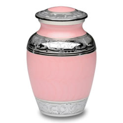 Pink Enamel and Silver Color Cremation Urn – Small – B-1528-S-PINK