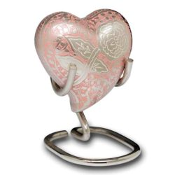 Pink Rose Heart Cremation Urn with Velvet Box and Stand – B-1598-H