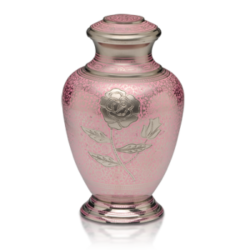 Pink Rose Nickel Plated Brass Cremation Urn – Adult – B-1598-A