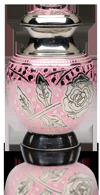 Pink Rose Nickel Plated Brass Cremation Urn – Keepsake – B-1598-K-NB