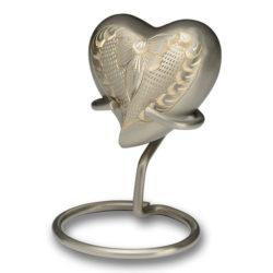 Platinum & Golden Brass Cremation Urn – Keepsake Heart – B-1575-H