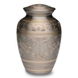 Platinum & Golden Brass Cremation Urn – Large – B-1575-L