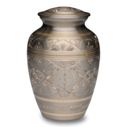 Platinum & Golden Brass Cremation Urn – Medium – B-1575-M