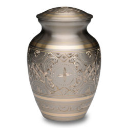 Platinum & Golden Brass Cremation Urn – Small – B-1575-S