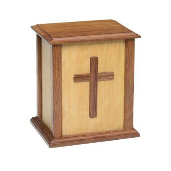 Rustic Wooden Urn with Cross – NM-CC-2 – 275 cu in - Adult