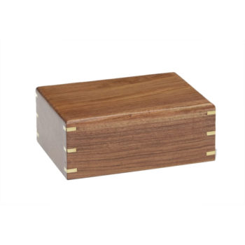 Simple Rosewood Sheesham Urn with Brass Corners – Extra Small – NM-215-BO-XS