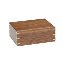 Simple Rosewood Sheesham Urn with Brass Corners – Medium – NM-215-BO-M
